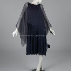 1975 Dior Navy Chiffon Dress&lt;br /&gt;<br />