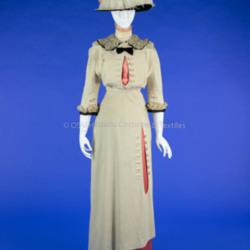 Cream Wool Walking Dress