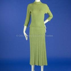 1950's Two-Piece Green Knit Dress